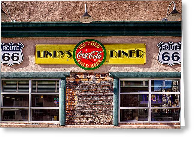 Lindy Greeting Cards - Albuquerques Route 66 Lindys Diner Greeting Card by Priscilla Burgers