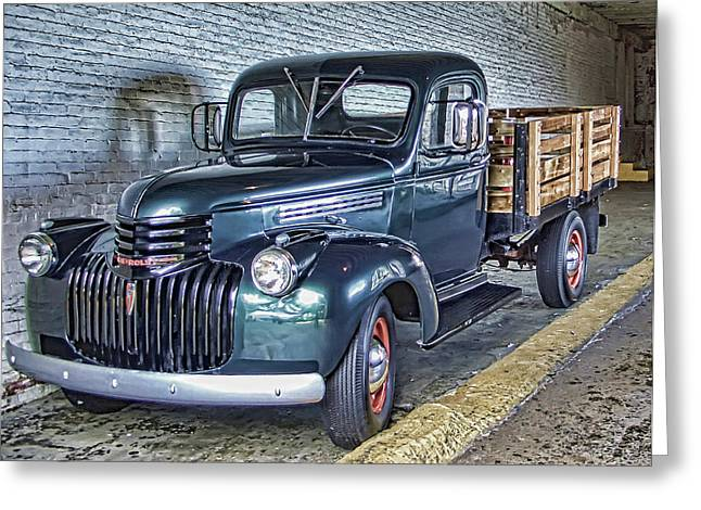 Alcatraz 1940 Chevy Utility Truck Greeting Card by Daniel Hagerman