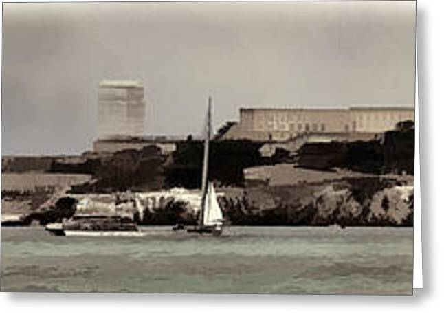Alcatraz Greeting Cards - Alcatraz Americas Cup Greeting Card by Chuck Kuhn
