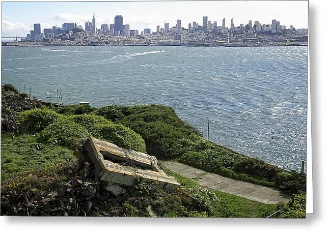 Alcatraz Greeting Cards - ALCATRAZ and SAN FRANCISCO Greeting Card by Daniel Hagerman