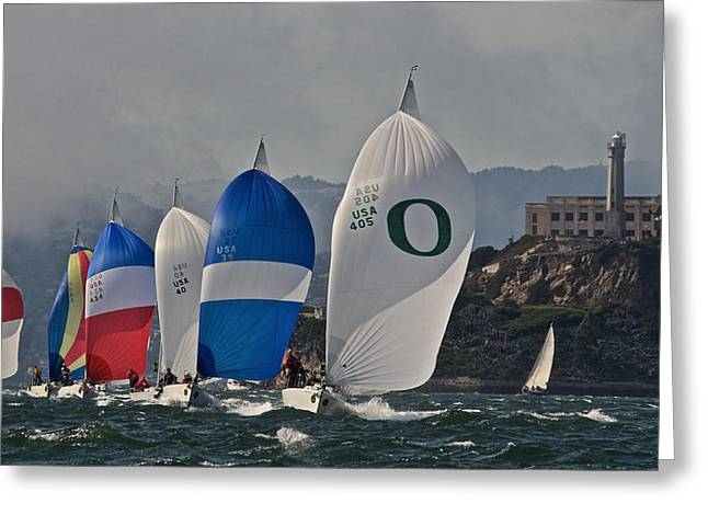 Alcatraz Greeting Cards - Alcatraz and Spinnakers Greeting Card by Steven Lapkin