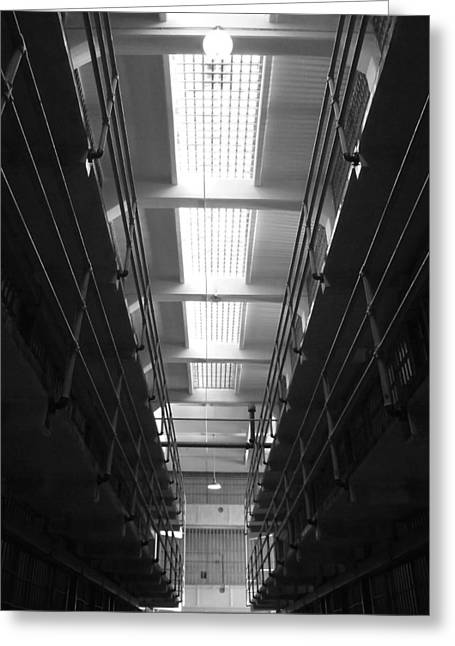 Walkway Pyrography Greeting Cards - Alcatraz Cell Block Corridor Greeting Card by Fabien White