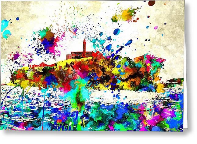 San Francisco Bay Mixed Media Greeting Cards - Alcatraz Greeting Card by Daniel Janda