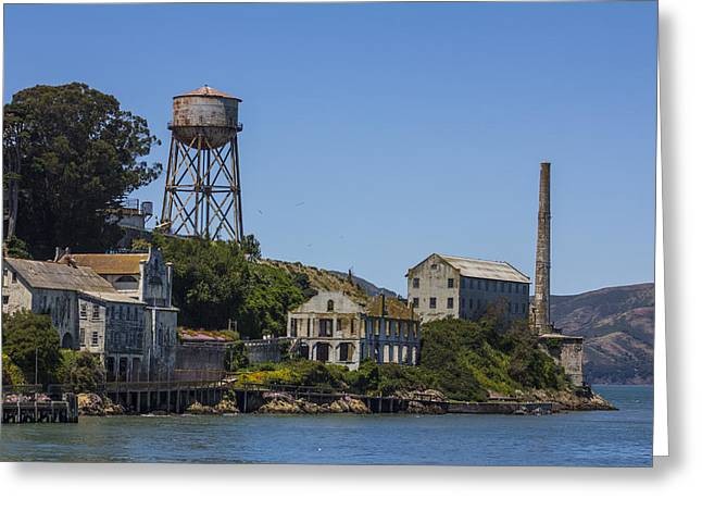 San Fransico Greeting Cards - Alcatraz Dock and Water Tower Greeting Card by John McGraw