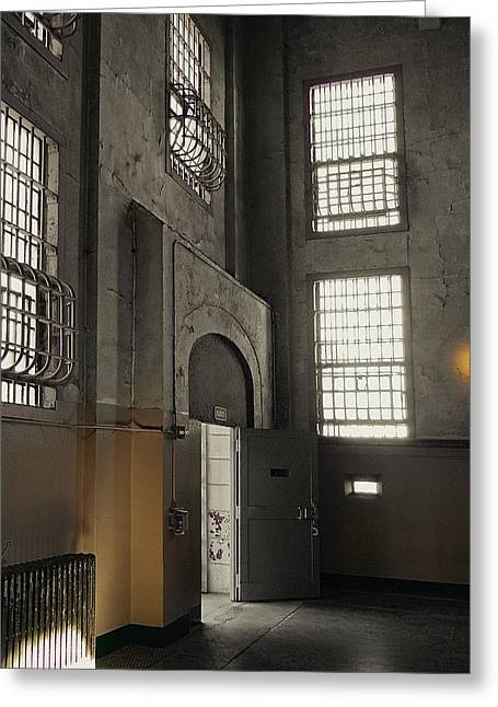 Steel: Iron Greeting Cards - ALCATRAZ DOORWAY to FREEDOM Greeting Card by Daniel Hagerman