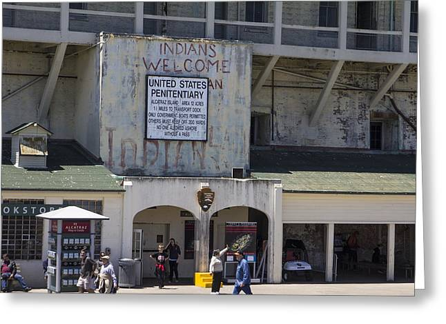 San Fransico Greeting Cards - Alcatraz Entrance Indians Welcome Greeting Card by John McGraw