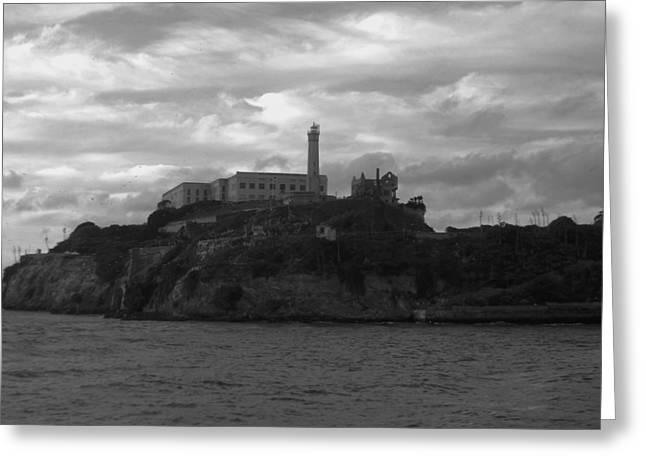 Recently Sold -  - Alcatraz Greeting Cards - Alcatraz Island B n W Greeting Card by Richard Andrews