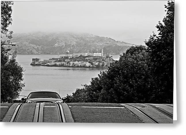 Alcatraz Greeting Cards - Alcatraz Island from Hyde Street in San Francisco Greeting Card by RicardMN Photography