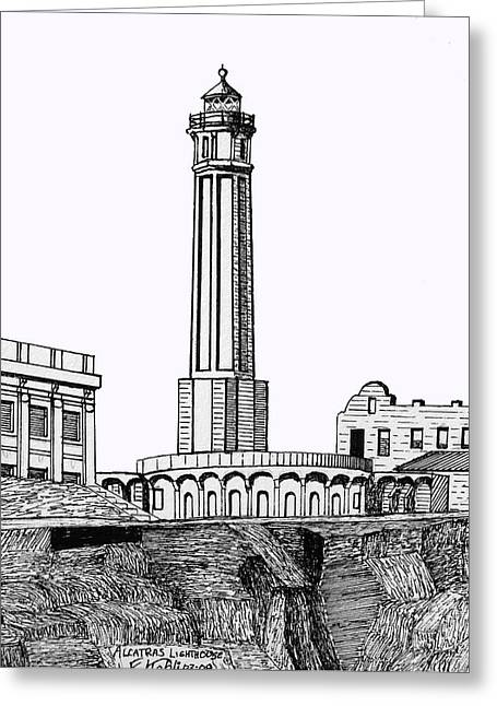Historic Buildings Images Drawings Greeting Cards - Alcatraz Island Lighthouse Greeting Card by Frederic Kohli