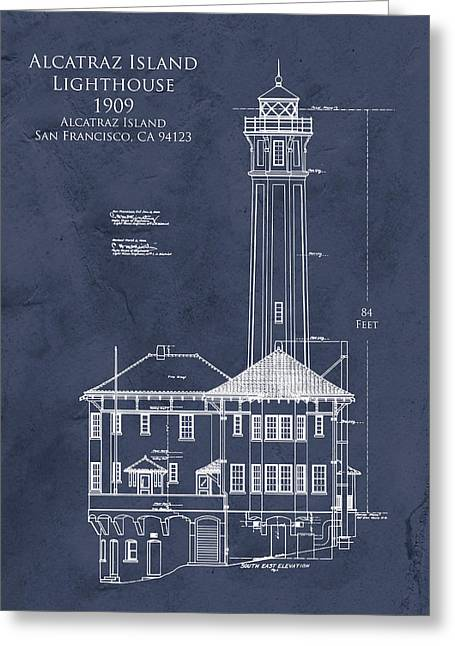 Historical Blueprint Greeting Cards - Alcatraz Island Lighthouse Greeting Card by Sara Harris