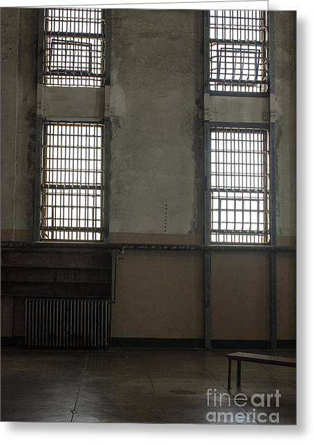 Bench Prison Greeting Cards - Alcatraz Library Greeting Card by Jacqueline Barden