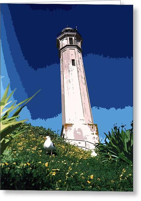Alcatraz Lighthouse Greeting Cards - Alcatraz Lighthouse Greeting Card by Robert J Sadler