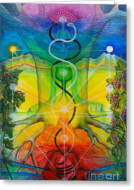 Metaphysics Paintings Greeting Cards - Alchemical Door Greeting Card by Colleen Koziara