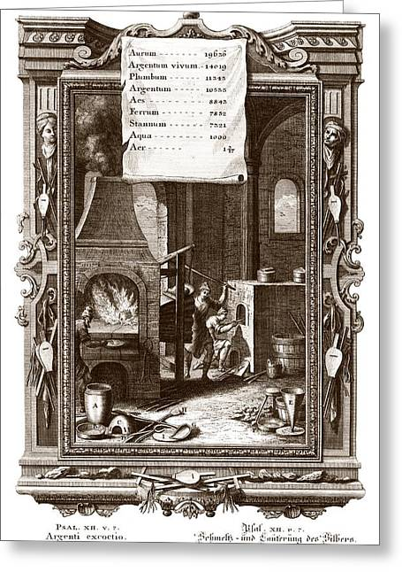 Ferrum Greeting Cards - Alchemical elements, 18th century Greeting Card by Science Photo Library