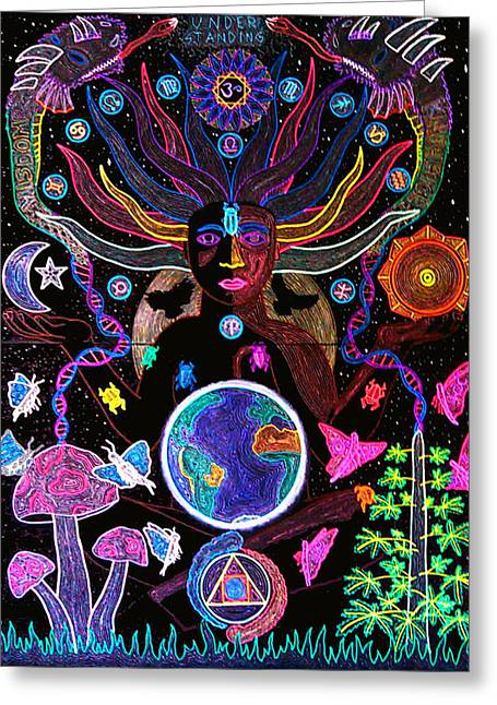 Hallucination Greeting Cards - Alchemical Transmutation of the Cosmic Self Greeting Card by Travis Hunt
