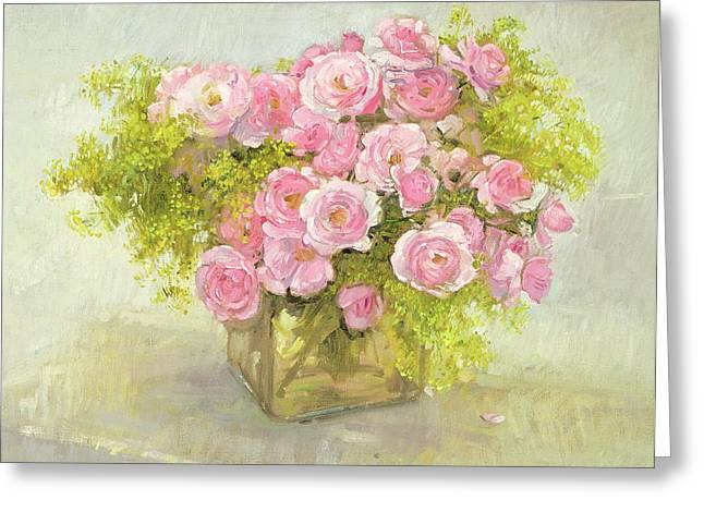 In Bloom Greeting Cards - Alchemilla and Roses Greeting Card by Timothy Easton