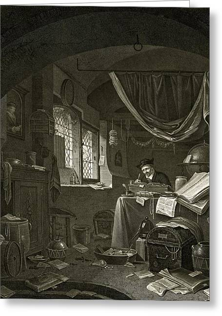 Untidy Greeting Cards - Alchemist, historical artwork Greeting Card by Science Photo Library