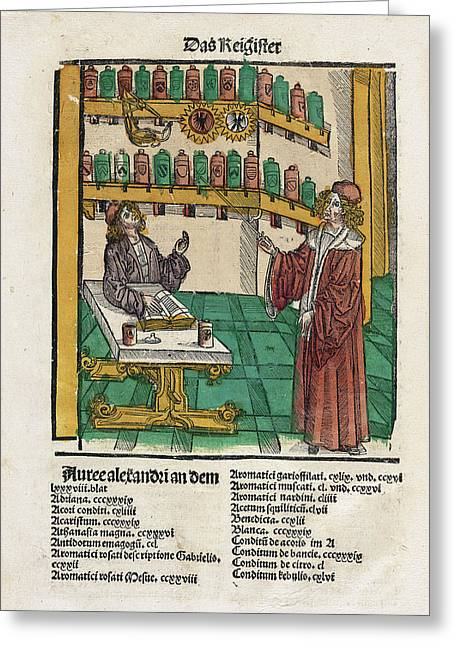 Alchemist With His Student Greeting Card by National Library Of Medicine