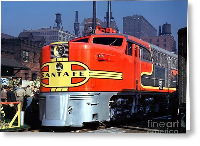 Alco Locomotives Greeting Cards - Alco PA-1 51 Santa Fe Chief Diesel Locomotive Chicago 1946 Greeting Card by Wernher Krutein