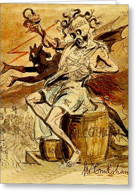 Medusa Greeting Cards - Alcohol Death and the Devil Greeting Card by George Cruikshank