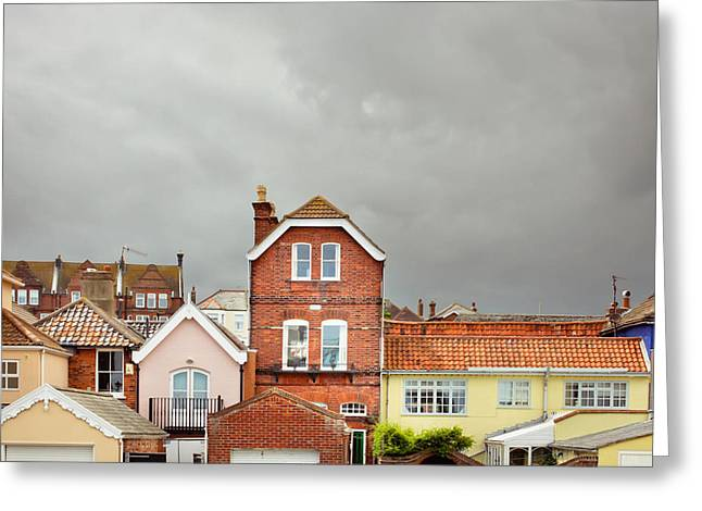 Grey Clouds Greeting Cards - Aldeburgh buildings Greeting Card by Tom Gowanlock