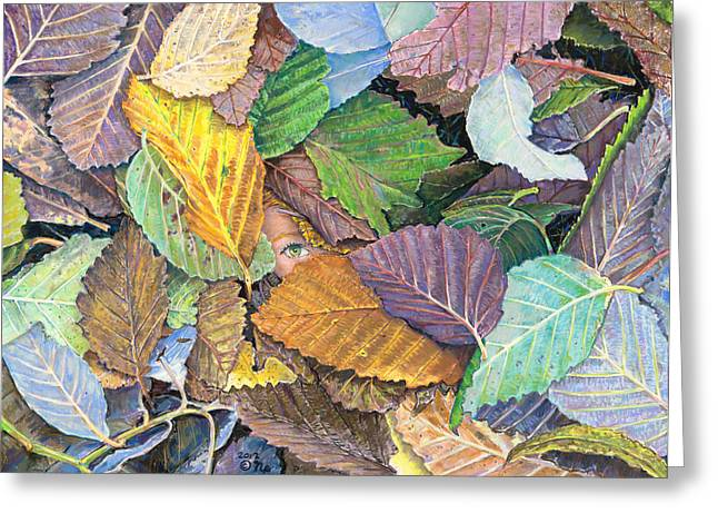 Birdseye Greeting Cards - Alder Leaves and Faerie Greeting Card by Nick Payne