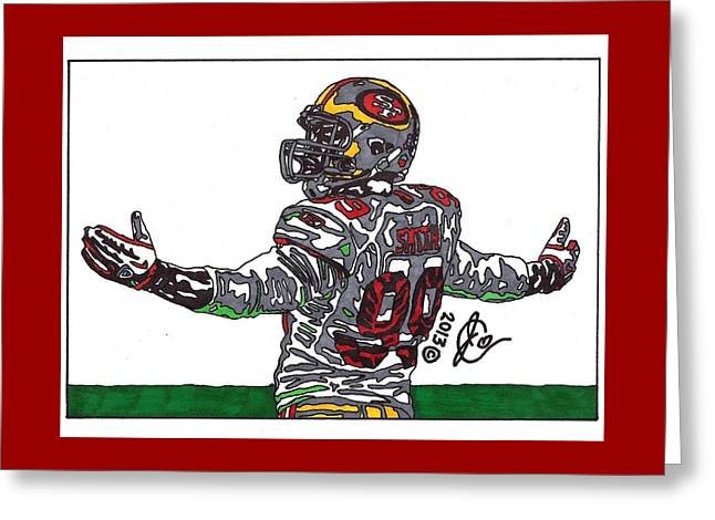 49ers Drawings Greeting Cards - Aldon Smith Greeting Card by Jeremiah Colley