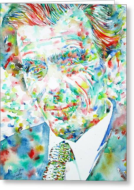 Aldous Huxley Greeting Cards - ALDOUS HUXLEY - watercolor portrait Greeting Card by Fabrizio Cassetta