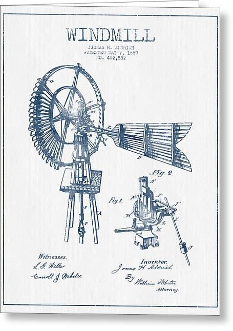 Mills Greeting Cards - Aldrich Windmill Patent Drawing From 1889 - Blue Ink Greeting Card by Aged Pixel