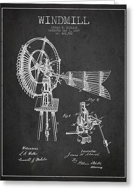 Mills Greeting Cards - Aldrich Windmill Patent Drawing From 1889 - Dark Greeting Card by Aged Pixel