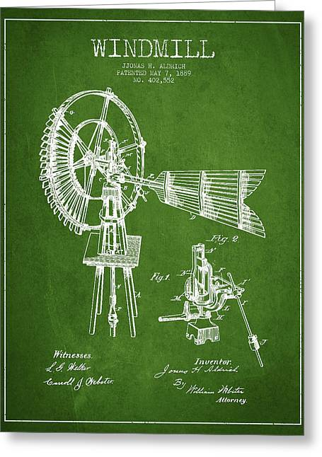 Mills Greeting Cards - Aldrich Windmill Patent Drawing From 1889 - Green Greeting Card by Aged Pixel