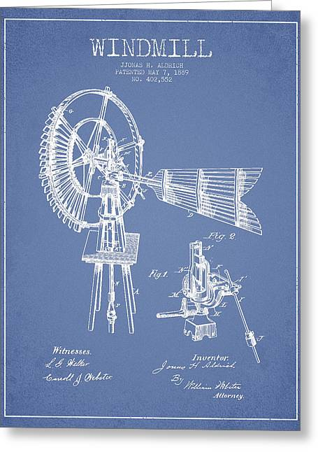 Mills Greeting Cards - Aldrich Windmill Patent Drawing From 1889 - Light Blue Greeting Card by Aged Pixel