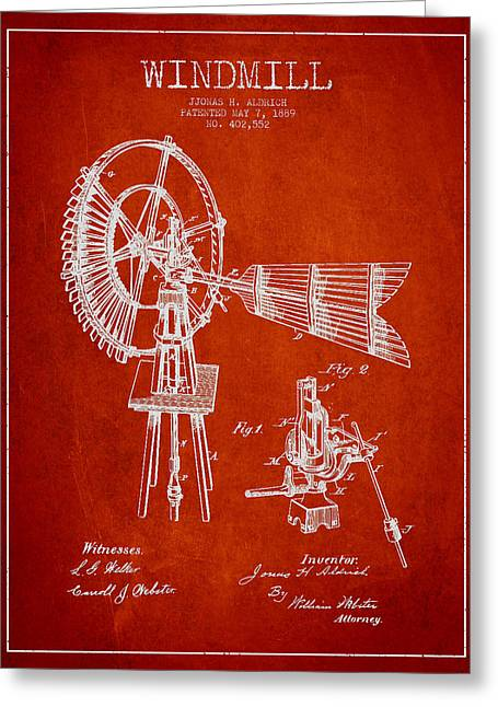 Mills Greeting Cards - Aldrich Windmill Patent Drawing From 1889 - Red Greeting Card by Aged Pixel