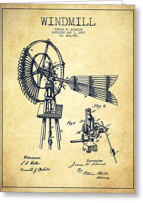 Mills Greeting Cards - Aldrich Windmill Patent Drawing From 1889 - Vintage Greeting Card by Aged Pixel