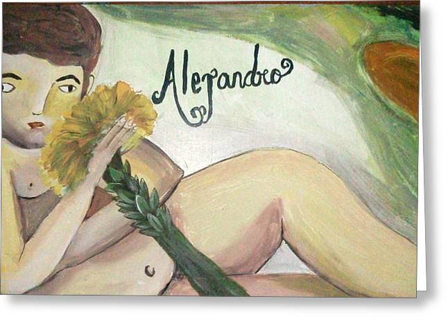 Toy Shop Paintings Greeting Cards - Alejandro Greeting Card by Vickie Meza