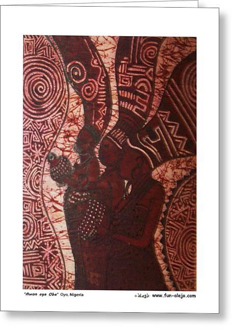 Western Tapestries - Textiles Greeting Cards - talejo- Awon aya Oba Greeting Card by Kola Awokunle