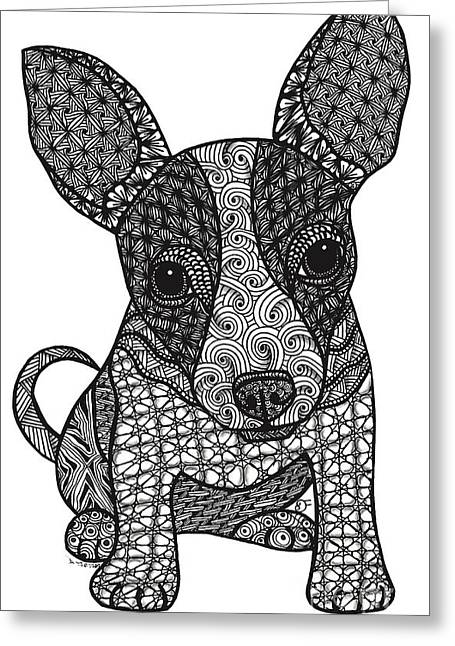 Chihuahua Artwork Greeting Cards - Alert - Chihuahua Greeting Card by Dianne Ferrer