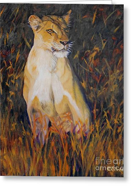 Caroline Street Greeting Cards - Alert Lioness Greeting Card by Caroline Street