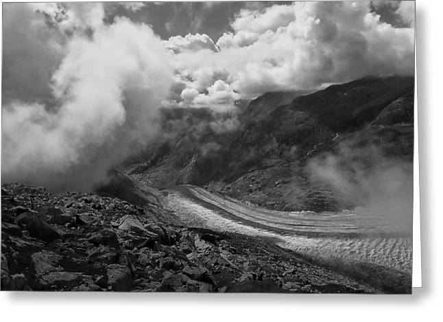 Grand Memories Greeting Cards - The Great Aletsch Glacier .. Switzerland Greeting Card by Connie Handscomb