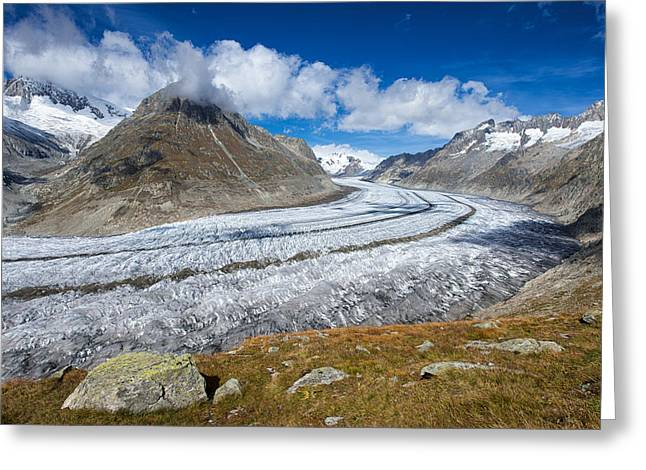 Swiss Photographs Greeting Cards - Aletsch Glacier Switzerland Swiss Alps Greeting Card by Matthias Hauser