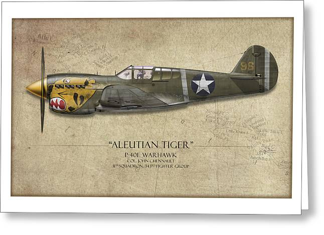 Warhawk Greeting Cards - Aleutian Tiger P-40 Warhawk - Map Background Greeting Card by Craig Tinder