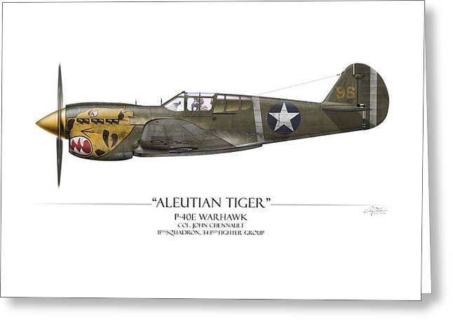 Warhawk Greeting Cards - Aleutian Tiger P-40 Warhawk - White Background Greeting Card by Craig Tinder