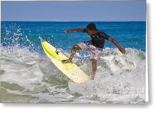 16-year-old Greeting Cards - Alex 16 year old pro surfer Greeting Card by John Lee Montgomery III