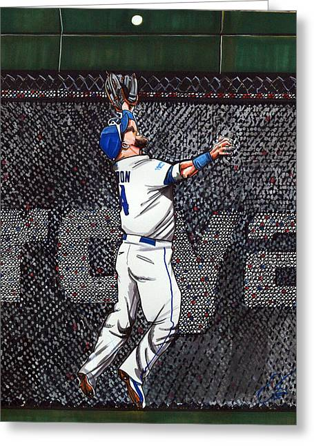 Kansas City Royals Greeting Cards - Alex Gordons Amazing ALCS catch for the KC Royals Greeting Card by Dave Olsen