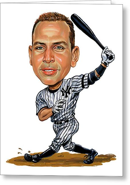 Baseball Paintings Greeting Cards - Alex Rodriguez Greeting Card by Art