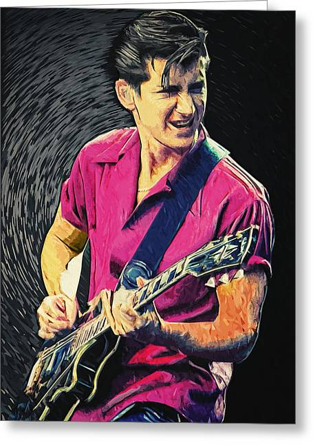 The Les Paul Guitar Greeting Cards - Alex Turner Greeting Card by Taylan Soyturk