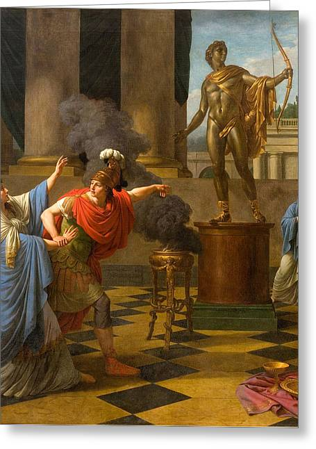 Consult Greeting Cards - Alexander Consulting the Oracle of Apollo Greeting Card by Louis-Jean-Francois Lagrenee