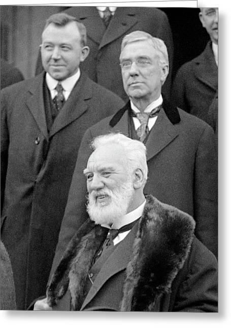 Alexander G Bell And Thomas Watson Greeting Card by Library Of Congress