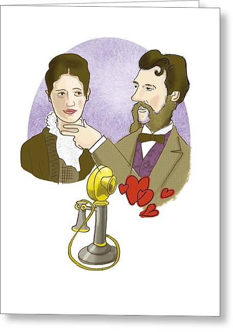 Trainers In Love Greeting Cards - Alexander G. Bell with his future wife Greeting Card by Science Photo Library