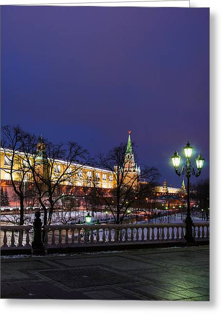 Arsenal Greeting Cards - Alexander Garden Of Moscow Kremlin - Square Greeting Card by Alexander Senin